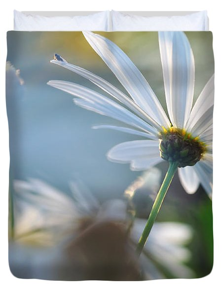 Late Sunshine On Daisies Duvet Cover by Kaye Menner