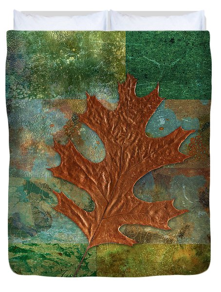 Leaf Life 01 - Green 01b2 Duvet Cover by Variance Collections
