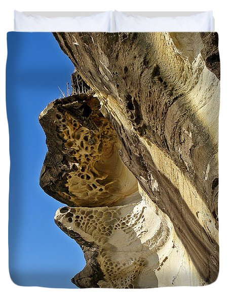 Leaning Rock Duvet Cover by Kaye Menner