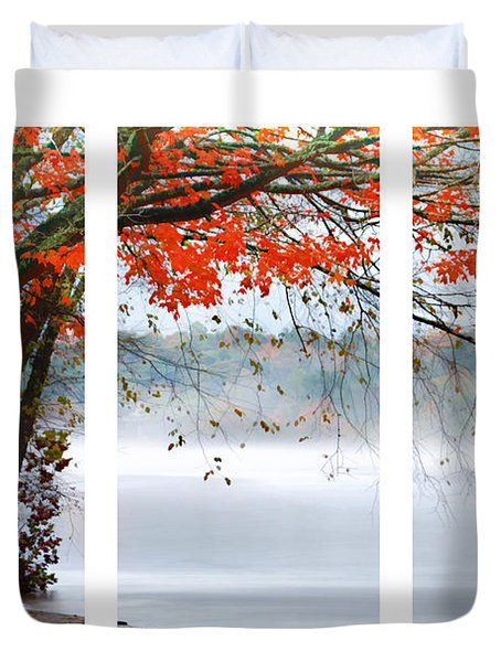 Leaves Of Red Duvet Cover by Darren Fisher