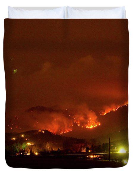 Lefthand Canyon Wildfire Boulder County Colorado 3-11-2011 Duvet Cover by James BO  Insogna