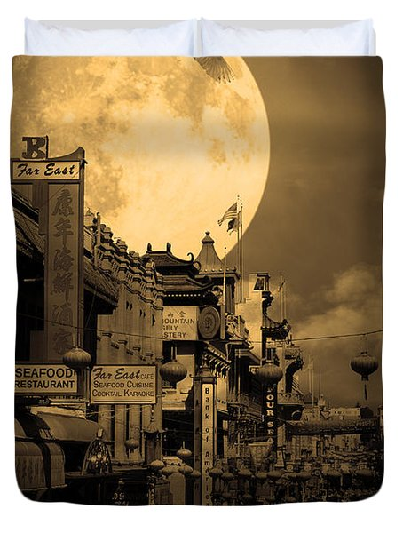 Legend of The Great White Phoenix of Chinatown . 7D7172 . Sepia Duvet Cover by Wingsdomain Art and Photography