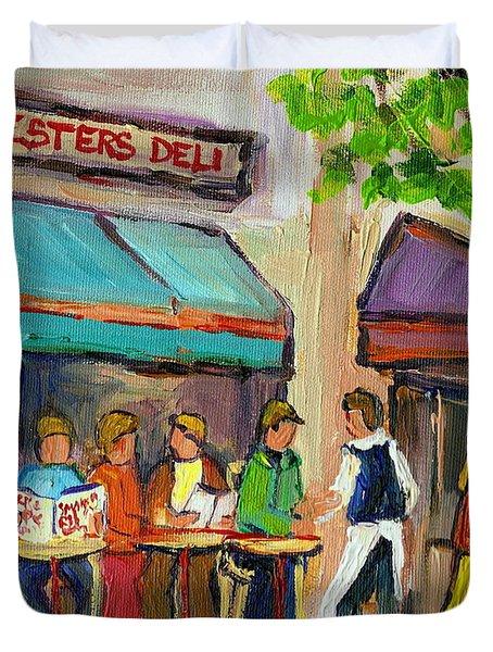 LESTER'S DELI MONTREAL CAFE SUMMER SCENE Duvet Cover by CAROLE SPANDAU