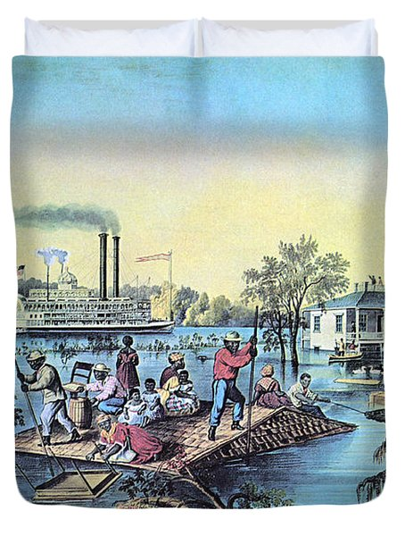 Life On The Mississippi, 1868 Duvet Cover by Photo Researchers