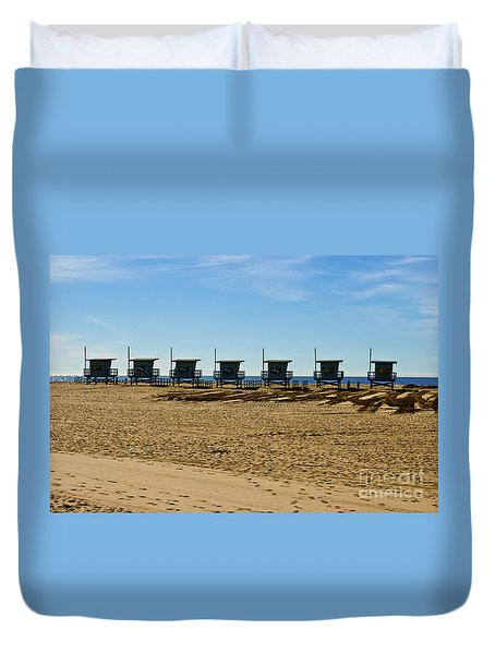 Lifeguard Stand's On The Beach Duvet Cover by Micah May