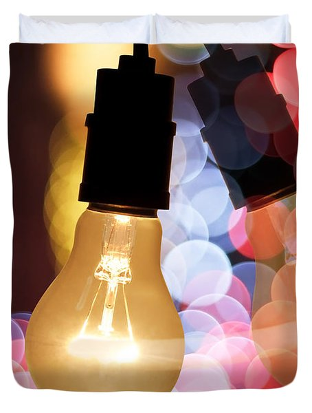 Light Bulb And Bokeh Duvet Cover by Setsiri Silapasuwanchai