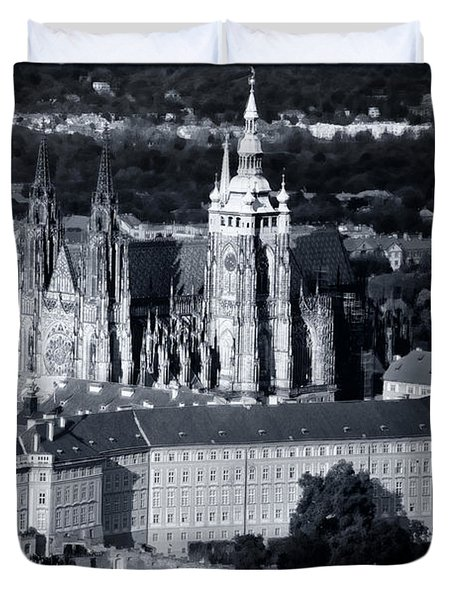 Light on the Cathedral Duvet Cover by Joan Carroll