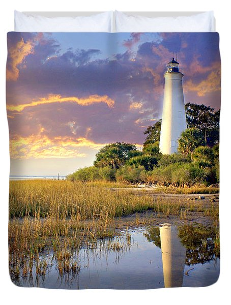 Lighthous Reflection 1 Duvet Cover by Marty Koch