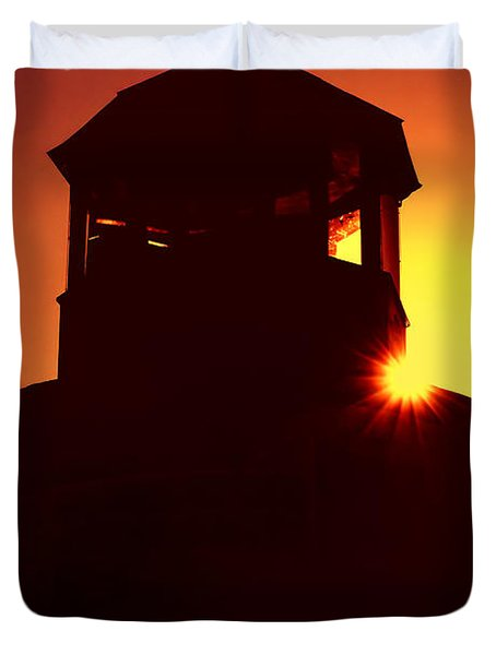 Lighthouse Sunset Duvet Cover by Joann Vitali