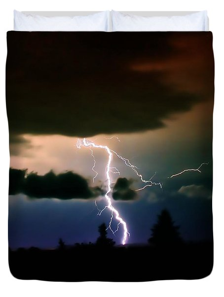 Lightning Over The Plains I Duvet Cover by Ellen Heaverlo