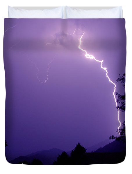 Lightning Over The Rogue Valley Duvet Cover by Mick Anderson