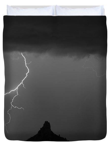 Lightning Storm At Pinnacle Peak Scottsdale Az Bw Duvet Cover by James BO  Insogna