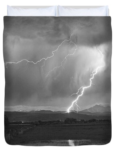 Lightning Striking Longs Peak Foothills 2bw Duvet Cover by James BO  Insogna