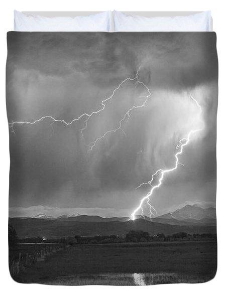 Lightning Striking Longs Peak Foothills 2BW Duvet Cover by James BO  Insogna
