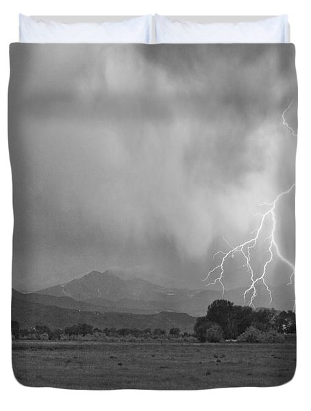 Lightning Striking Longs Peak Foothills 7cbw Duvet Cover by James BO  Insogna