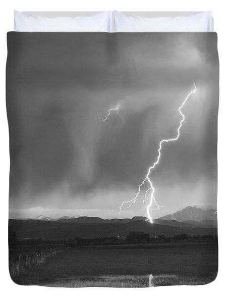 Lightning Striking Longs Peak Foothills Bw Duvet Cover by James BO  Insogna