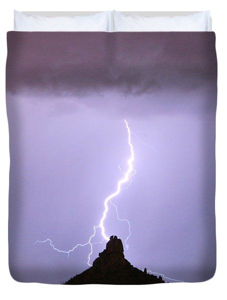Lightning Striking Pinnacle Peak Scottsdale AZ Duvet Cover by James BO  Insogna
