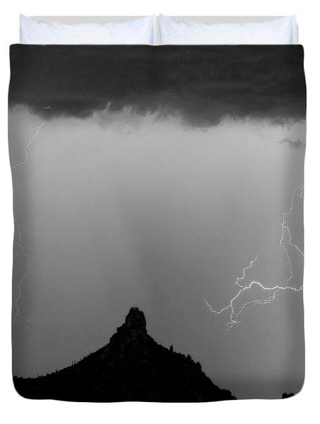 Lightning Thunderstorm at Pinnacle Peak BW Duvet Cover by James BO  Insogna