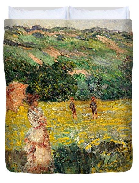 Limetz Meadow Duvet Cover by Claude Monet