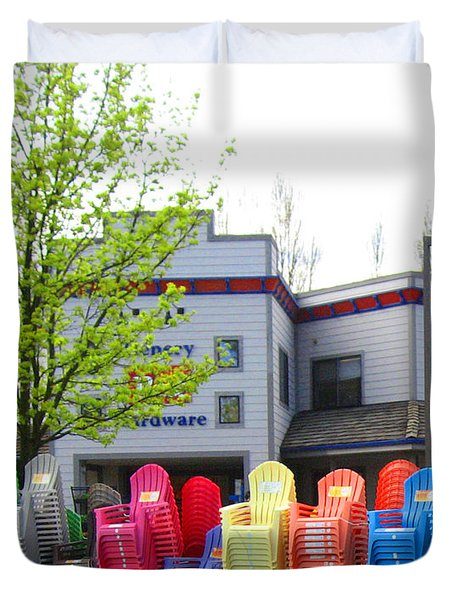 Line Of Rainbow Chairs Duvet Cover by Kym Backland