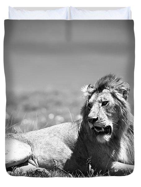 Lion King In Black And White Duvet Cover by Sebastian Musial