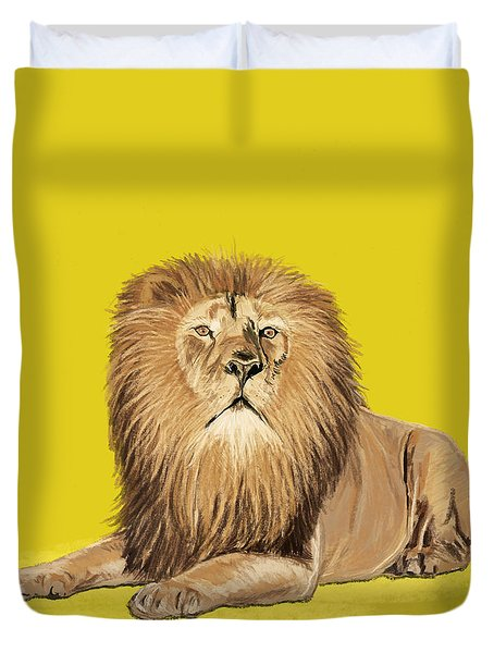 Lion painting Duvet Cover by Setsiri Silapasuwanchai