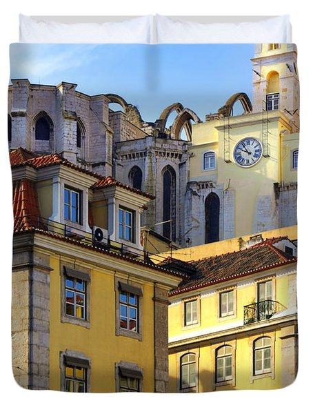 Lisbon Buildings Duvet Cover by Carlos Caetano