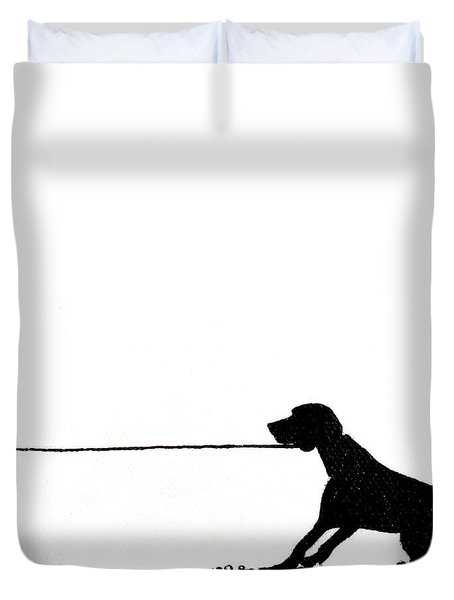 Little Dogs Doing Tricks On Little Canvas Duvet Cover by Cindy D Chinn