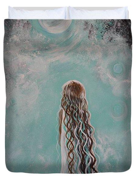 Little Galaxie Duvet Cover by Leslie Allen