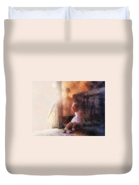Little Girl Thinking Duvet Cover by Nora Martinez