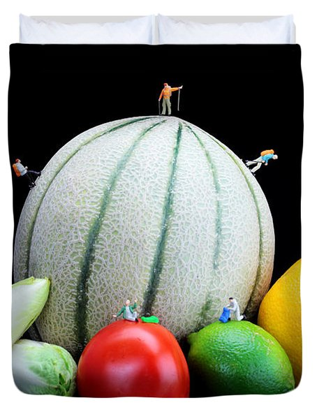 Little People Hiking On Fruits Duvet Cover by Paul Ge