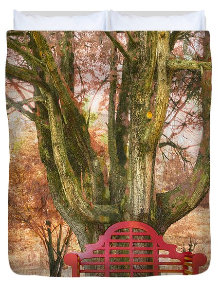 Little Red Bench Duvet Cover by Debra and Dave Vanderlaan