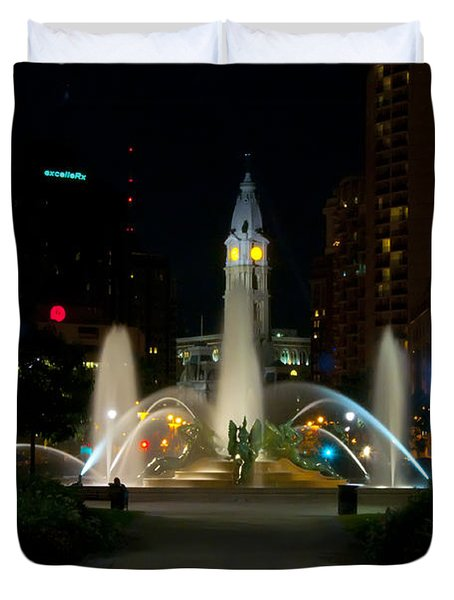 Logan Circle Fountain With City Hall At Night Duvet Cover by Bill Cannon