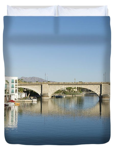 London Bridge And Reflection II Duvet Cover by Gloria & Richard Maschmeyer