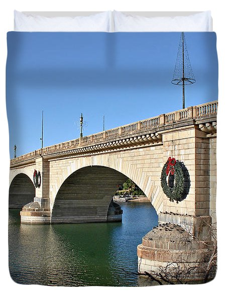 London Bridge Lake Havasu City - The World's Largest Antique Duvet Cover by Christine Till