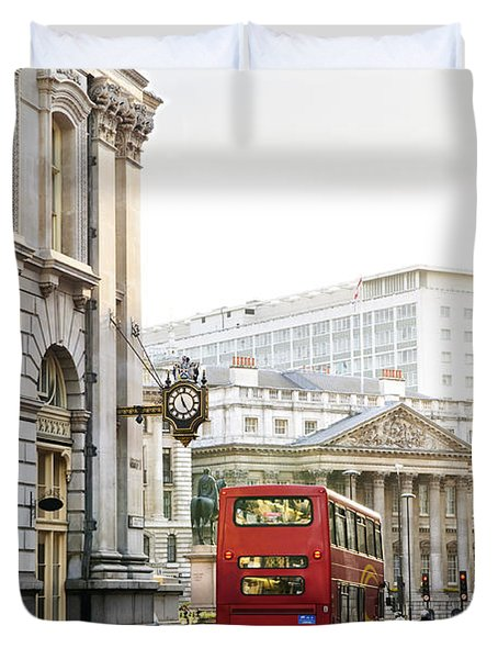 London street with view of Royal Exchange building Duvet Cover by Elena Elisseeva