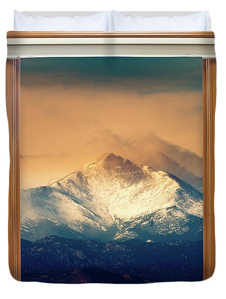 Longs Peak And Mount Meeker Wood Window View Duvet Cover by James BO  Insogna