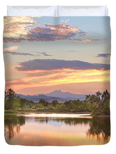 Longs Peak Evening Sunset View Duvet Cover by James BO  Insogna
