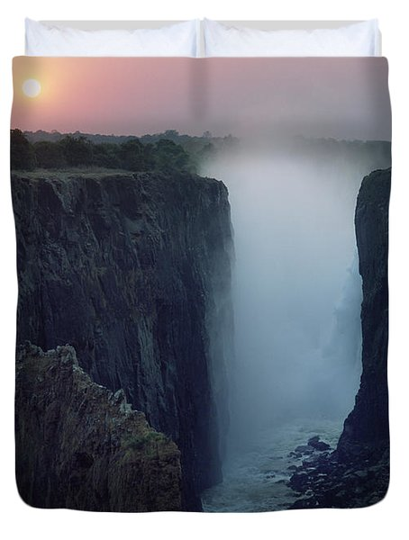 Looking Along Victoria Falls At Dusk Duvet Cover by Axiom Photographic