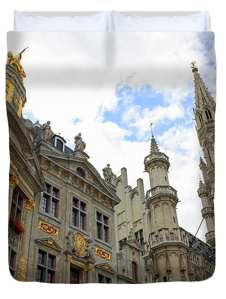 Looking Up At The Grand Place Duvet Cover by Carol Groenen