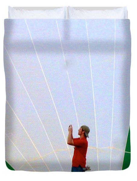 Lost Infront Of The Balloon Duvet Cover by Mark Dodd