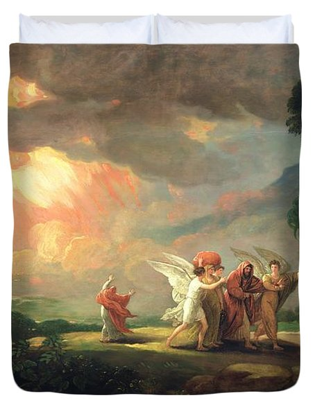 Lot Fleeing From Sodom Duvet Cover by Benjamin West