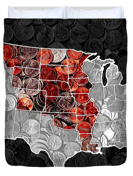 Louisiana Purchase Coin Map . v1 Duvet Cover by Wingsdomain Art and Photography