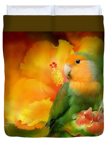 Love Among The Hibiscus Duvet Cover by Carol Cavalaris