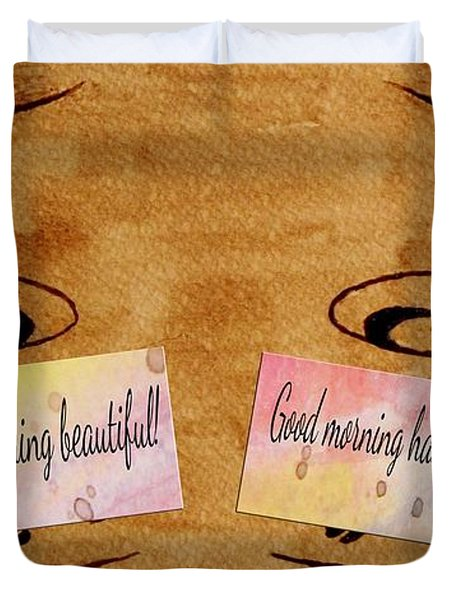 Love Morning Coffee Duvet Cover by Georgeta  Blanaru