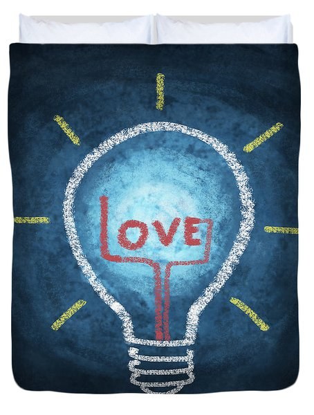 love word in light bulb Duvet Cover by Setsiri Silapasuwanchai