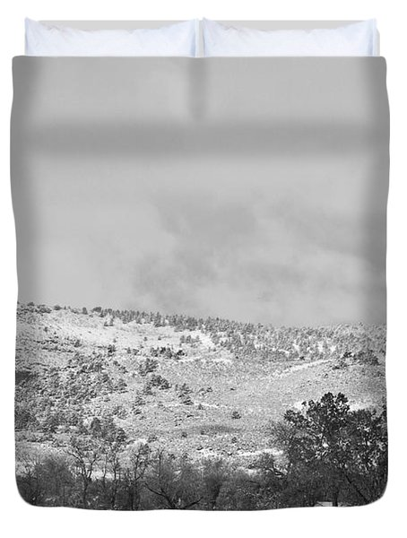 Low Winter Storm Clouds Colorado Rocky Mountain Foothills 7 Bw Duvet Cover by James BO  Insogna