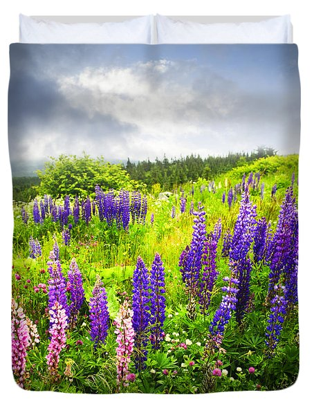 Lupin Flowers In Newfoundland Duvet Cover by Elena Elisseeva