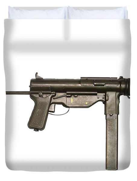 M3a1 Submachine Gun, 45 Caliber Duvet Cover by Andrew Chittock
