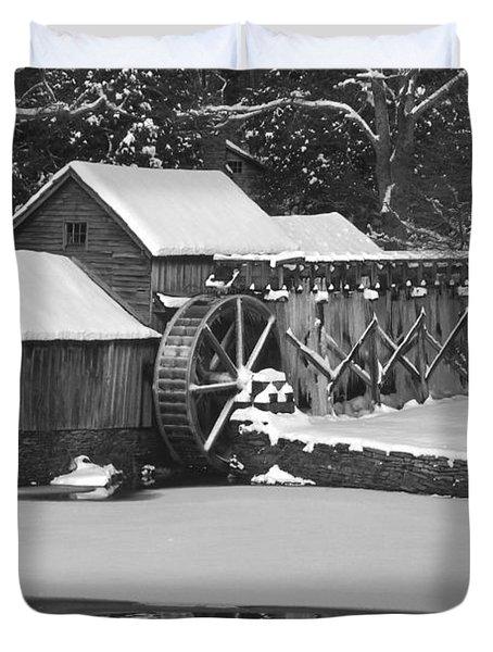 Mabry Mill In Black And White Duvet Cover by Joe Elliott